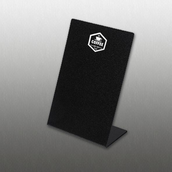 lavagna da banco in plexiglass nero lucido formato A4